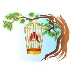 birds in a cage on a tree vector image