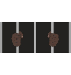 Black man hands with tattoo holding prison bars vector image