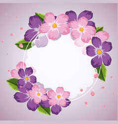 Border template with purple and pink flowers vector