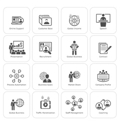 Business and Finances Icons Set Flat Design vector image