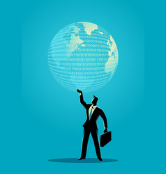 businessman holding a digital globe vector image