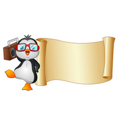 Cartoon penguin dancing with a tape recorder and p vector