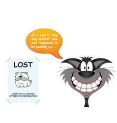 cat responsible for lost dog vector image