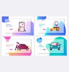 characters ordering online taxi cars landing page vector image