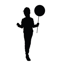 Child silhouette with balloon vector