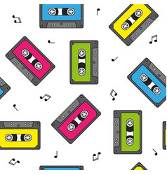 colorful retro cassettes seamless pattern vector image