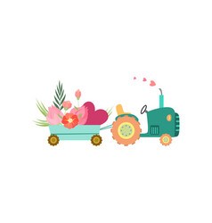 Cute tractor with cart with flowers and heart vector