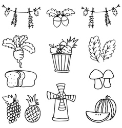 Doodle of stock thanksgiving set vector image
