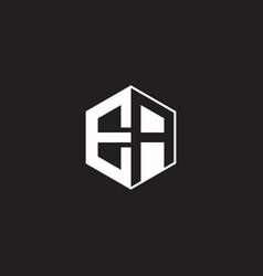 Ea logo monogram hexagon with black background vector