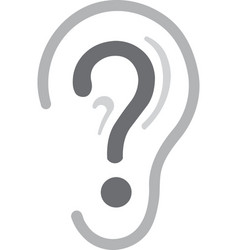 Ear with question mark icon graphic vector