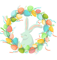 easter wreath with colored eggs and easter cute vector image