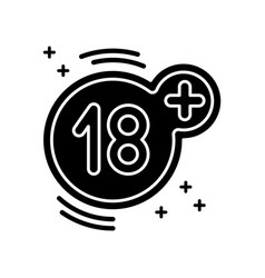 Eighteen plus black glyph icon adults only 18 vector