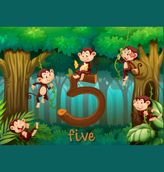 Five monkey in the jungle vector