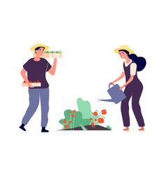 flat farmers agricultural workers fruits vector image