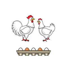 flat hand drawn chicken set isolated vector image