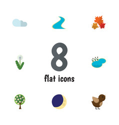 Flat icon nature set of canadian floral bird and vector