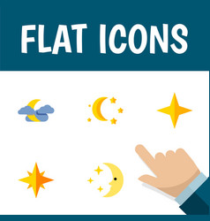 Flat icon night set of star bedtime midnight and vector