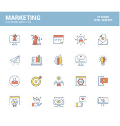 flat line icons design-marketing vector image