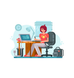 Girl designer at workplace vector