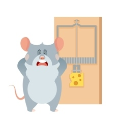 Grey mouse and a mousetrap vector