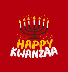 happy kwanzaa greeting card menorah with lit vector image