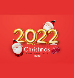 Happy new 2022 year christmas invitation with cute vector