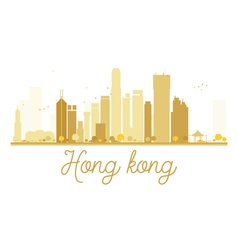 Hong Kong City skyline golden silhouette vector