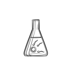in vitro fertilization hand drawn outline doodle vector image