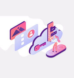 isometric people work with cloud service student vector image