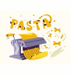 italian food making delicious pasta cartoon vector image