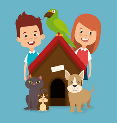 kids with pets characters vector image