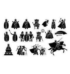 King characters in pictograph set artworks depicts vector