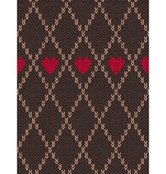 Knitted Pattern with Heart vector