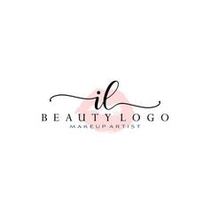 letter il watercolor lips premade logo design vector image