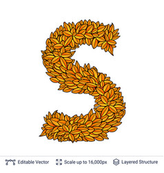 Letter s sign of autumn leaves vector