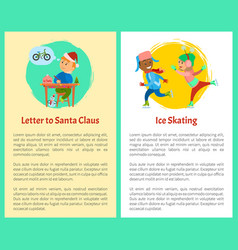 Letter to santa and ice skating posters with text vector