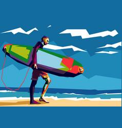 man surfer carrying his surfboard pop art vector image