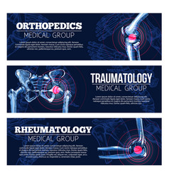 Medical banners orhtopedics traumatology vector