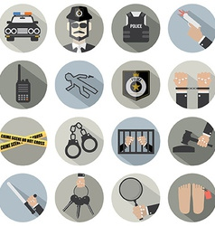 Modern flat design police and law icon set vector