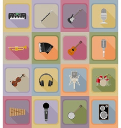 music items and equipment flat icons 20 vector image