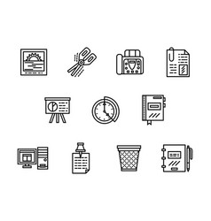 office black line icons set vector image