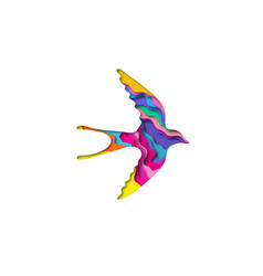 paper cut swallow shape 3d origami vector image