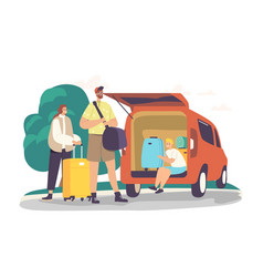 Parents and son road ready for journey happy vector