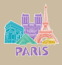 paris travel icon set vector image