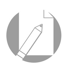 pencil school with paper isolated icon vector image vector image