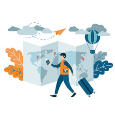 people traveling design a man with a suitcase vector image