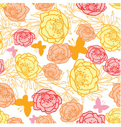 pink yellow orange leaves butterflies vector image