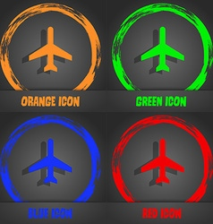 Plane icon Fashionable modern style In the orange vector image