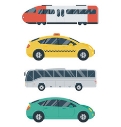 public transportation icons train bus taxi car vector image