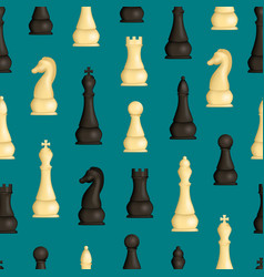 realistic detailed 3d wooden chess pieces seamless vector image